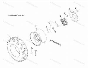 Polaris Atv 2005 Oem Parts Diagram For Front Wheel   Ac  Ag