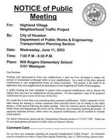 Public Meeting Notice Sample