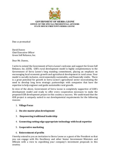 GSR - Sierra Leone Letter of Invitation