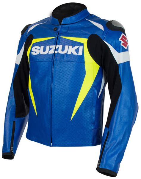 suzuki gsxr gsx r gixxer leather jacket blue yellow ebay