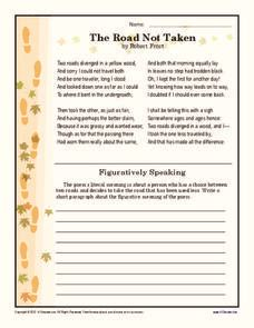 the road not taken 6th 9th grade worksheet lesson planet