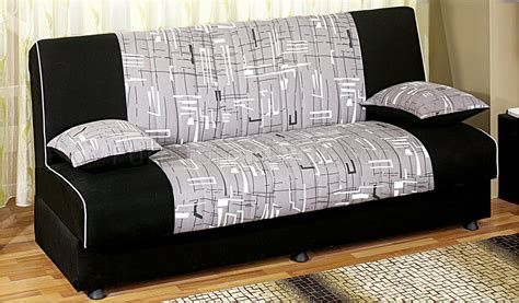 detroit tri tone fabric convertible sofa bed wstorage space