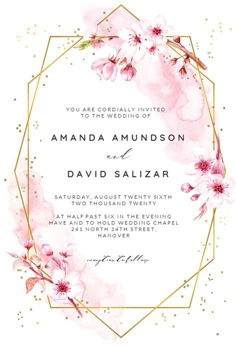 floral sakura wedding invitation template  island
