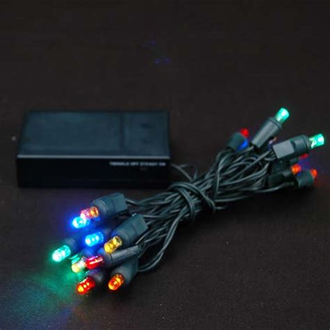 christmas lights that run on batteries 20 light battery operated multi colored on green wire