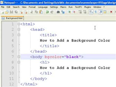 Html Code For Background Color How To Create Web Pages Using Html How To Add A
