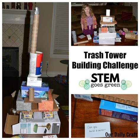 trash tower building challenge  daily craft