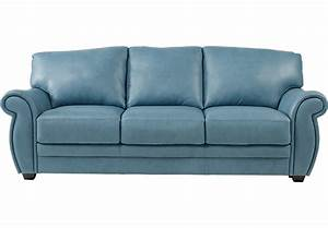 Martello Blue Leather Sofa - Leather Sofas (Blue)