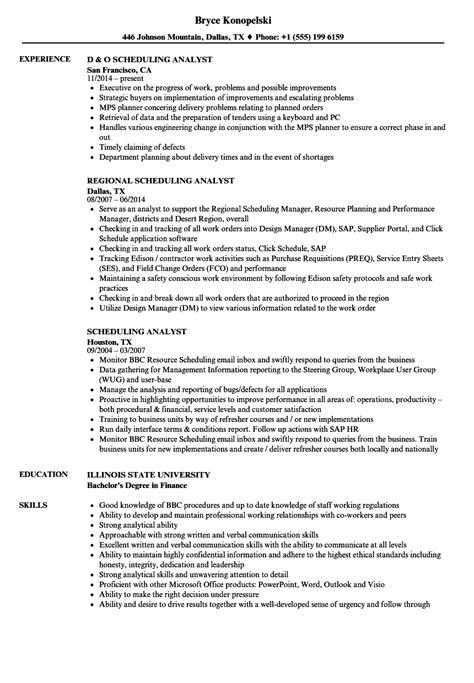 scheduling analyst resume samples velvet jobs