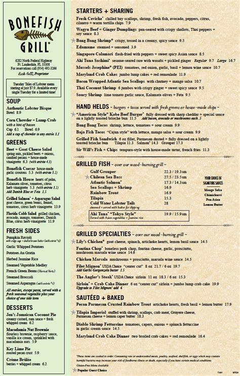 menu  bonefish grill  north federal highway fort