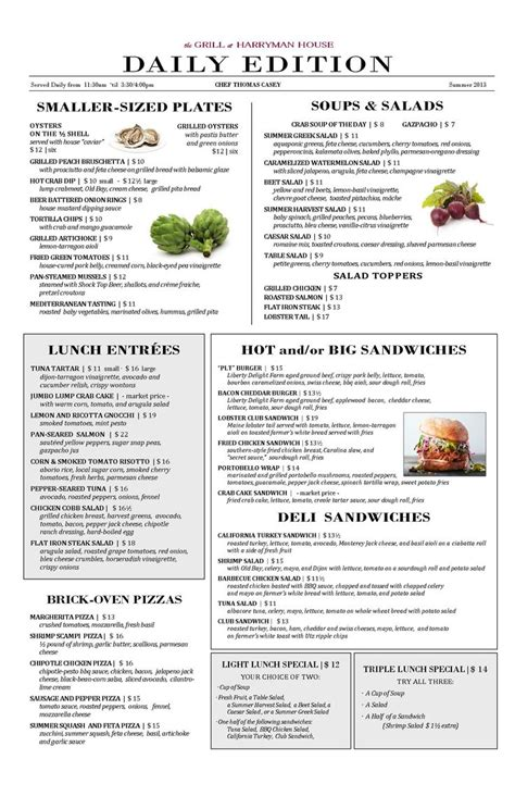 New Summer Lunch Menu  The Grill At Harryman House
