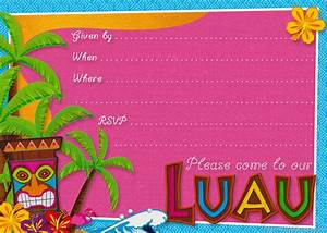 Party planning center free printable hawaiian luau party invitations for Free printable luau invitations