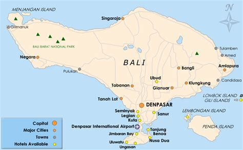 detailed  printable map  bali listing popular places