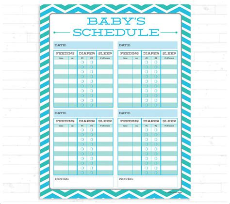 Baby Feeding Schedule Chart Template