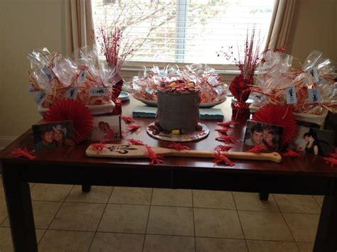 crawfish boil couples shower cake favor table kristi