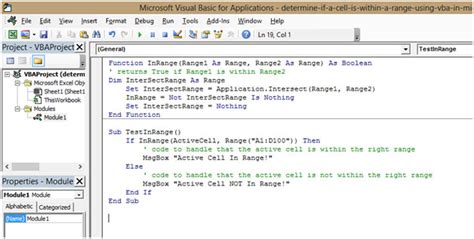 vba excel range cells determine if a cell is within a range using vba in microsoft excel 2010 microsoft excel tips