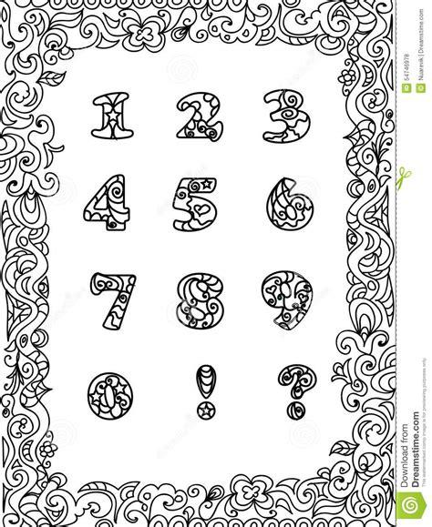 zahlen zentangle mit rahmen stock abbildung illustration