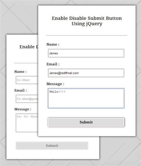 enable disable submit button using jquery formget