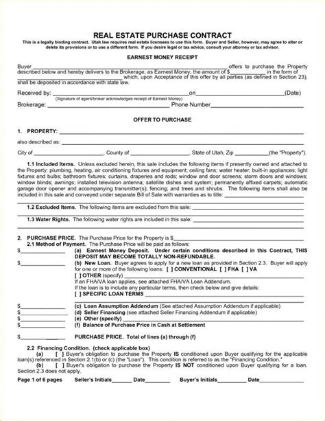 real estate purchase contract contract template real