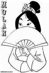 Mulan Coloring Pages Drawing Fan Hand Colorings Getdrawings sketch template