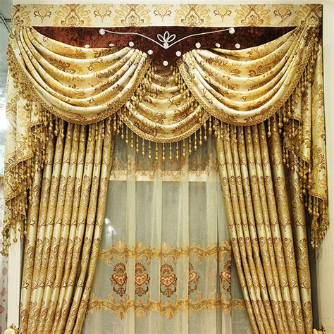 affordable gold polyester jacquard living room curtains