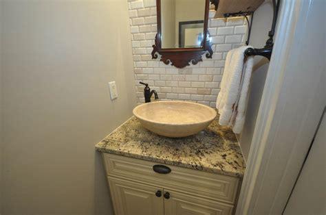 Powder Room Backsplash : Powder Room Remodel With New Flooring, Vanity, Granite Top