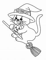 Witch Coloring Pages Cute Halloween Cat Printable sketch template