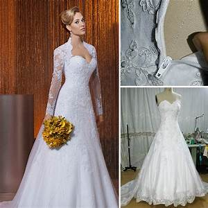 A line lace wedding dress jacket sweetheart long sleeve for Plus size 2 piece wedding dresses