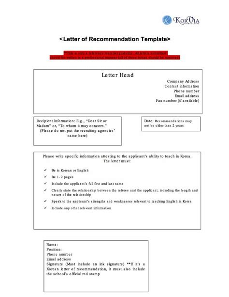 recommendation template 43 free letter of recommendation templates sles