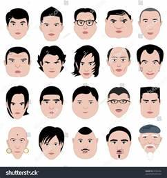 Man Face Shape Hairstyle Round Fat Thin Old Stock Vector