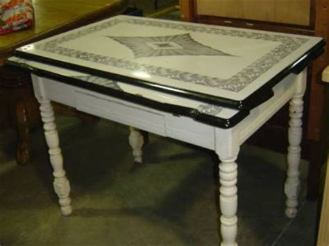 antique metal top kitchen table enamel top kitchen table with pullout leaves and s 410263 7481