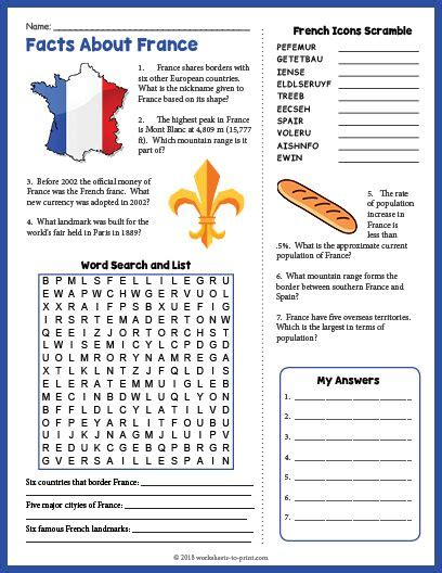 free printable facts about france geography worksheet