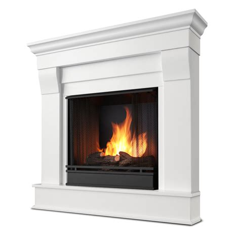 white fireplace real flame chateau corner ventless gel fireplace in white