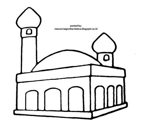 mewarnai gambar mewarnai gambar sketsa masjid 1