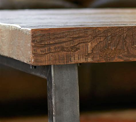 griffin reclaimed wood bar height table pottery barn ca