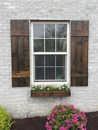 "wood exterior shutters Wood Shutters, Rustic exterior cedar shutters- ""Board and ..."