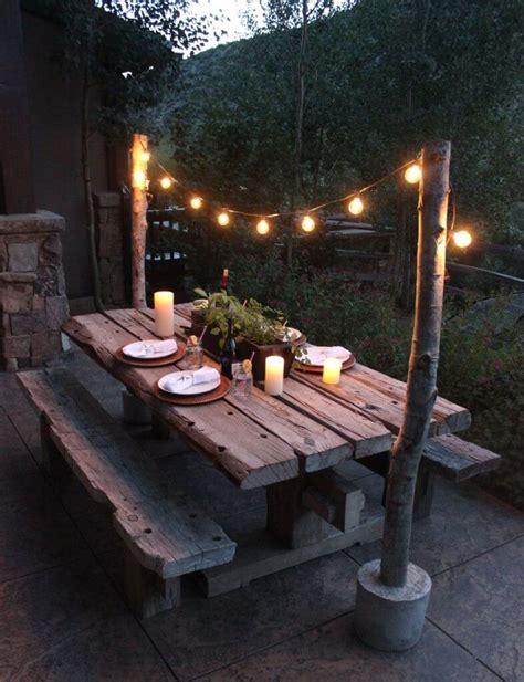 Backyard Table by Backyard Picnic Table Dining Area Wood Plank Board En