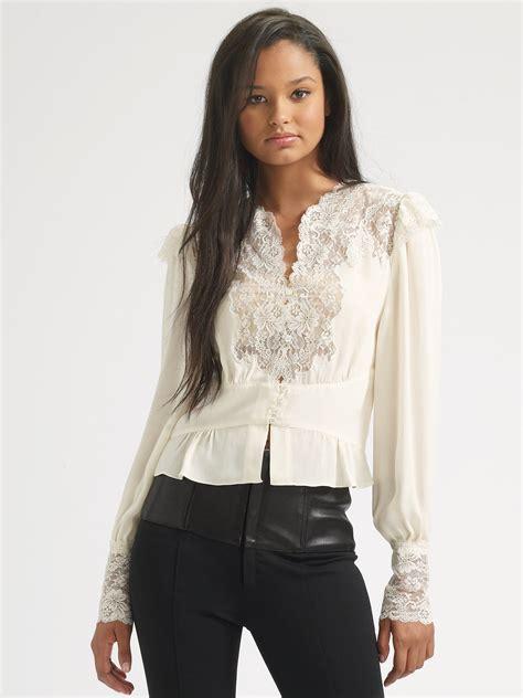 haute hippie blouse haute hippie lace silk blouse in white swan lyst