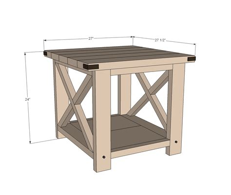 rustik 2x4 dimensions white rustic x end table diy projects