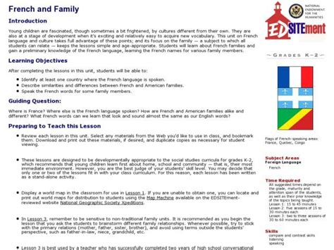 French And Family Lesson Plan