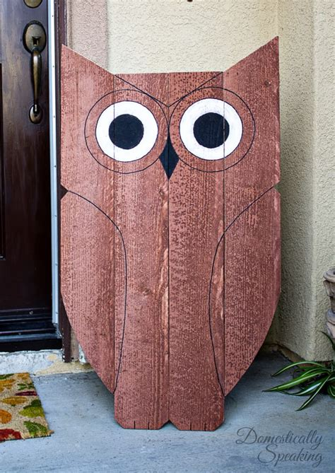 diy wood owl outdoor decor happy owl  ween domestically