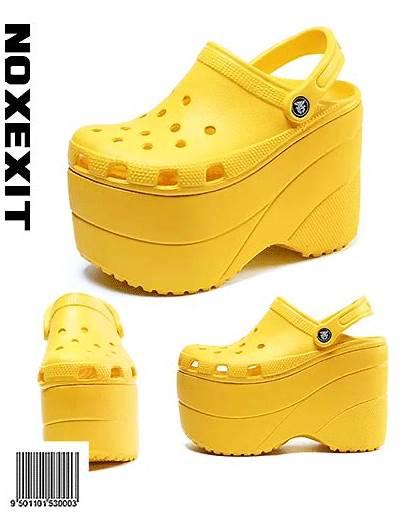 Crocs Platform Shoes Platforms Heel Heels Yellow