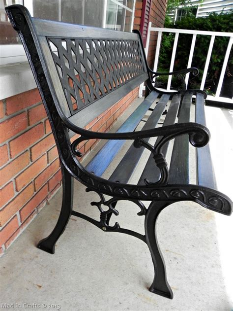 restoring an outdoor bench with colored stain mad in