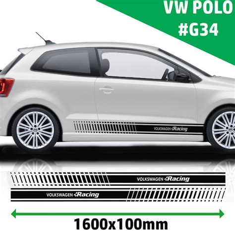 racing stripes stickers decal for vw polo tuning car graphics size 160x10 cm ebay