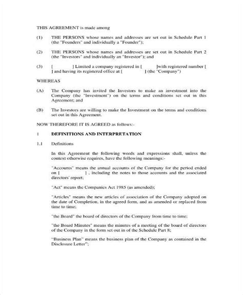 small business investment agreement templates