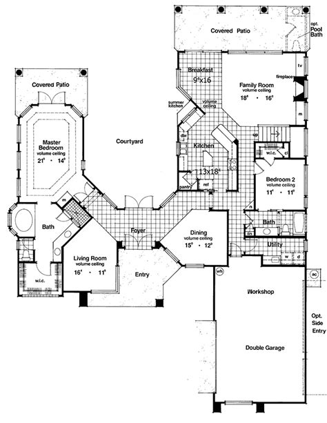 courtyard home plans two courtyard house plan 6382hd architectural