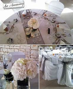decoration de mariage gris perle anthracite argente blanc With decoration gris et blanc