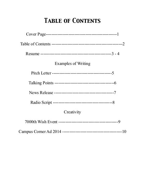 table of contents sle exle of a table of contents for a research paper 28