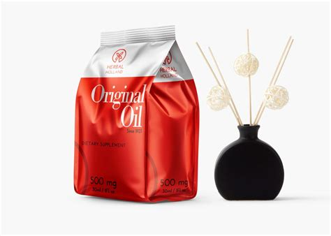 A high quality standing pouch packaging mockup to showcase any of your food based industry product design created on eco friendly plastic pouch with natural available format: Herbal Original Oil Stand Up Pouch Mockup | Free PSD ...