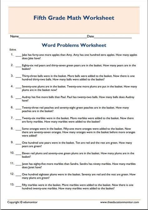 math addition word problems  worksheet