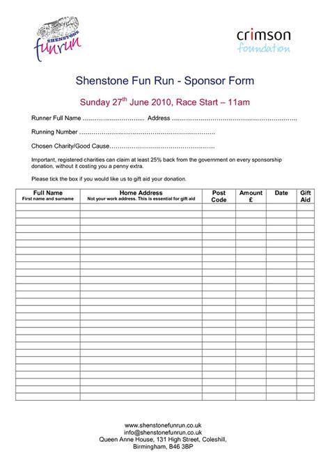 sponsorship order form template fun run registration form